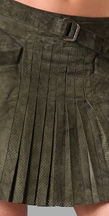 L.A.M.B. Front Pleat Suede Skirt