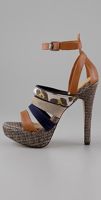 L.A.M.B. Eben Raffia Platform Sandals