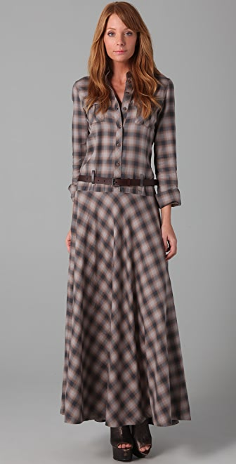 L.A.M.B. Long Belted Plaid Dress