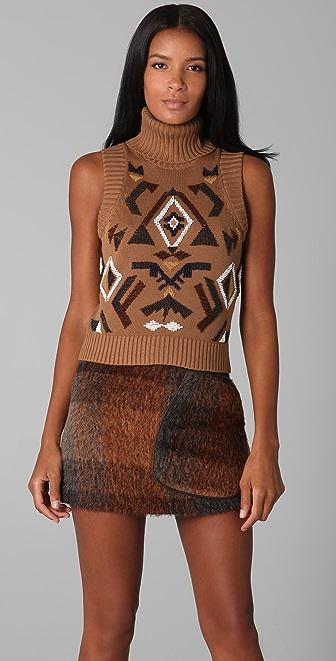 L.A.M.B. Sleeveless Turtleneck Sweater with Beading
