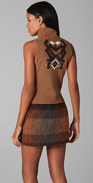 L.A.M.B. Sleeveless Turtleneck Sweater with Beading
