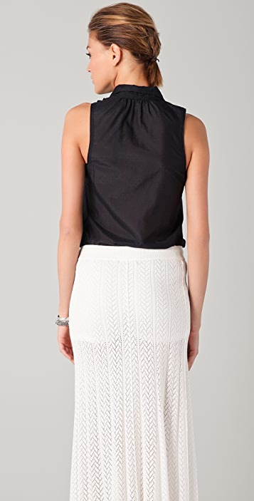L.A.M.B. High Neck Sleeveless Tuxedo Blouse