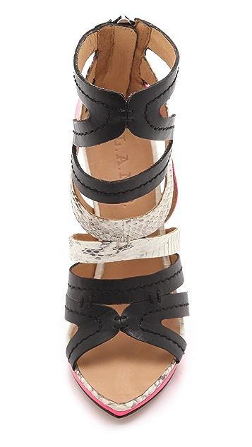 L.A.M.B. Jen Back Zip Sandals