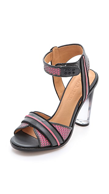 L.A.M.B. Carter Sandals with Lucite Heel