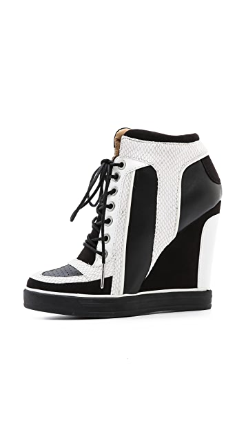 L.A.M.B. Summer Lace Up Wedge Sneakers