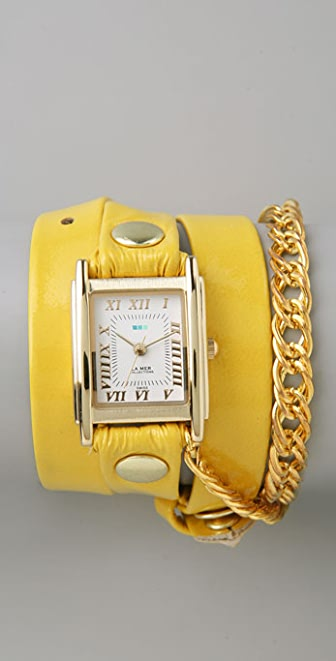 La Mer Collections Gold Glam Chain Wrap Watch