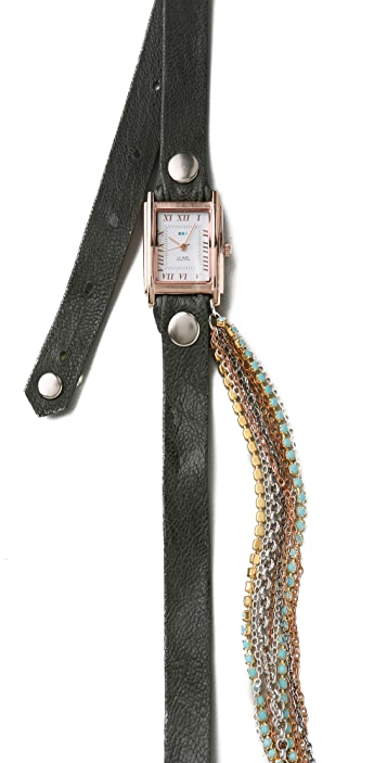 La Mer Collections Turquoise Crystal Chain Wrap Watch