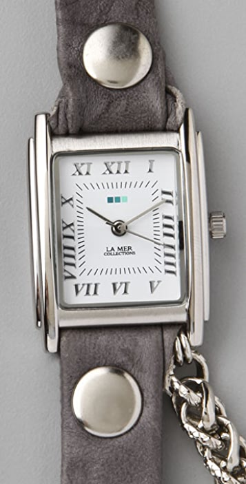 La Mer Collections Silver Motor Chain Wrap Watch