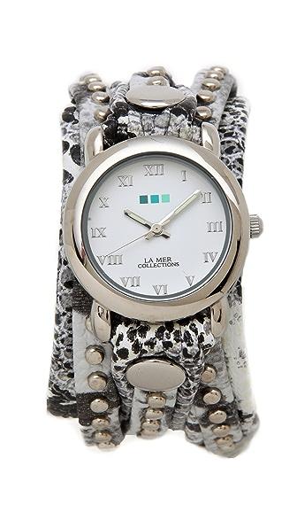 La Mer Collections Snakeskin Bali Stud Wrap Watch