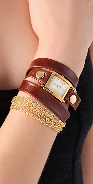 La Mer Collections Rio Gold Chain Wrap Watch