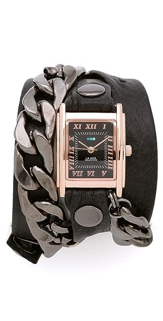 La Mer Collections Gunmetal Malibu Chain Wrap Watch
