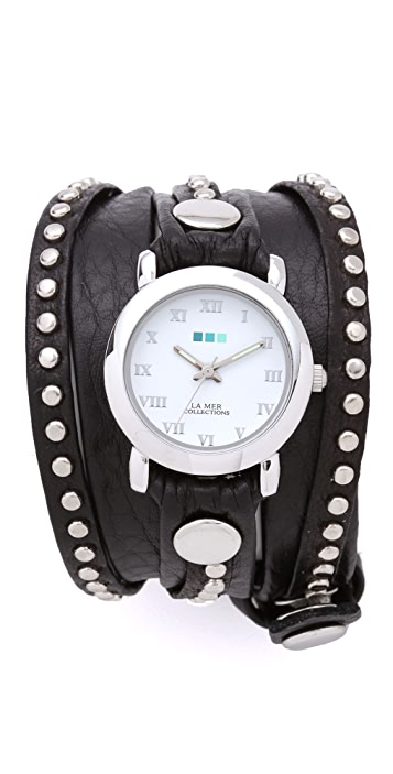 La Mer Collections Bali Studded Wrap Watch