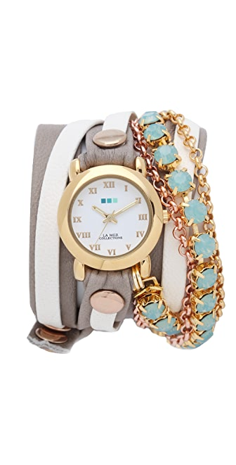La Mer Collections St. Tropez Chain Wrap Watch