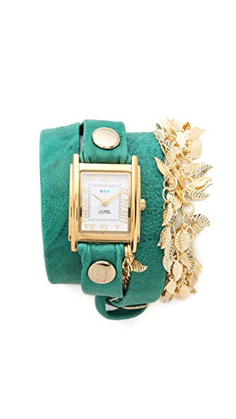 La Mer Collections Multi Leaf Charm Wrap Watch