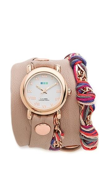 La Mer Collections Fuchsia Friendship Bracelet Watch
