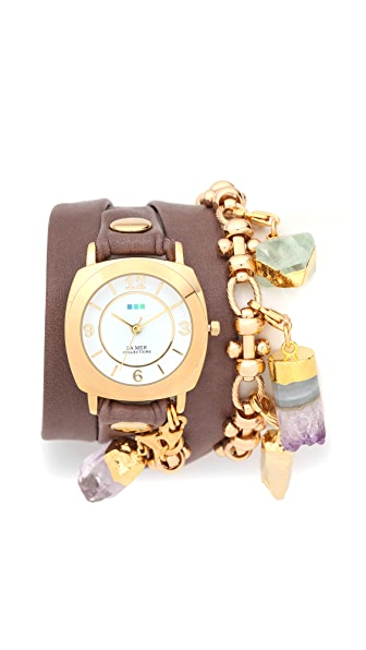 La Mer Collections Topanga Removable Crystal Wrap Watch