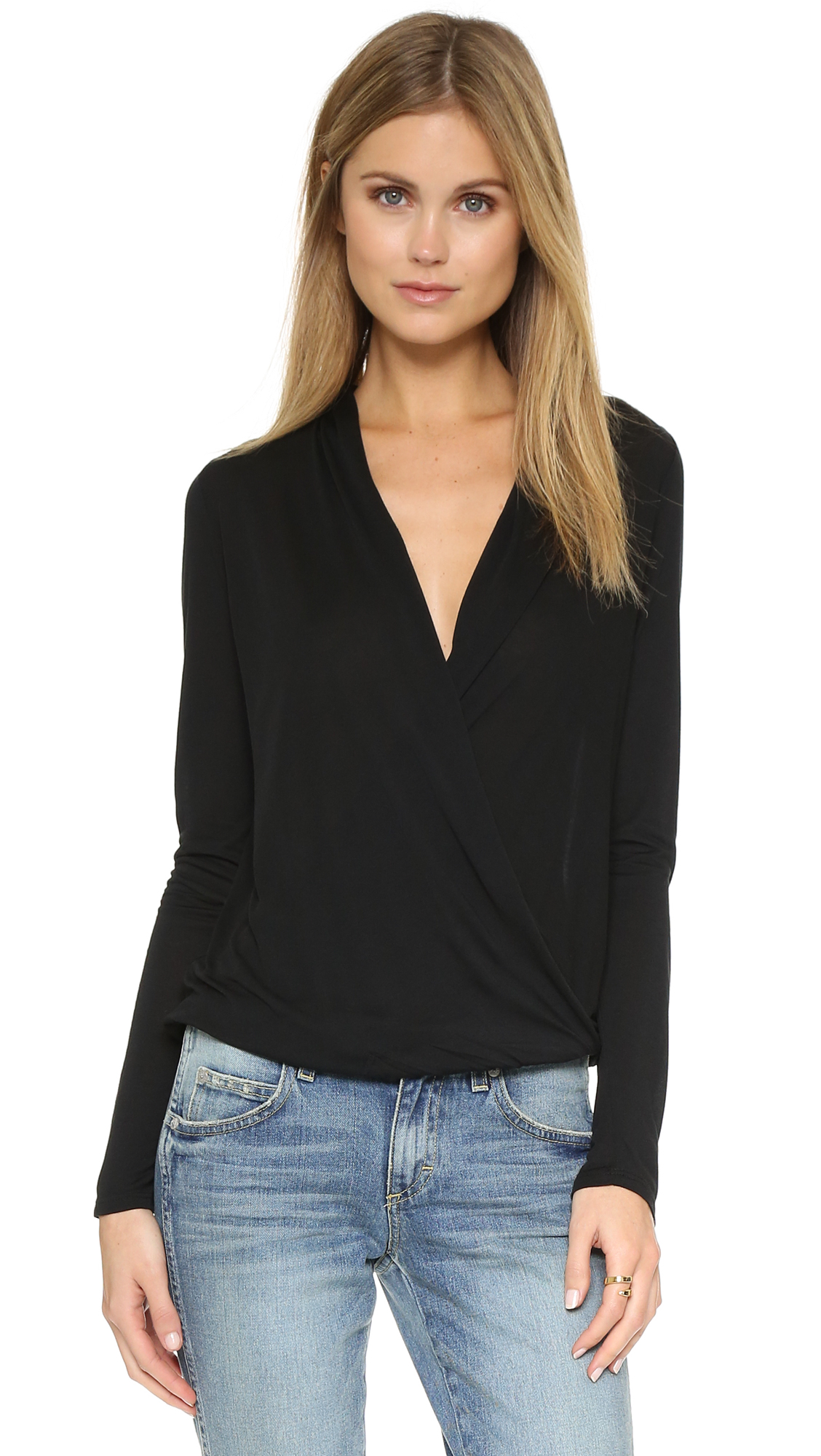 Lanston Surplice Long Sleeve Top - Black at Shopbop