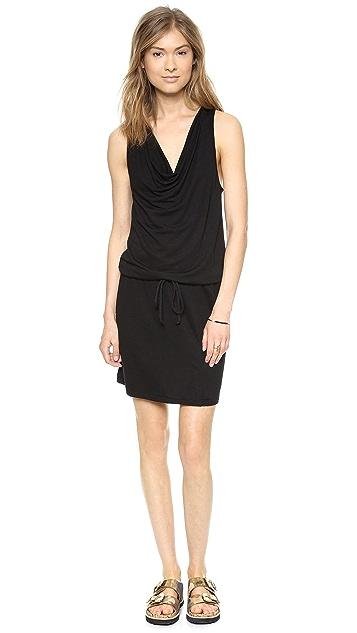 Lanston Drape Mini Dress with Slit
