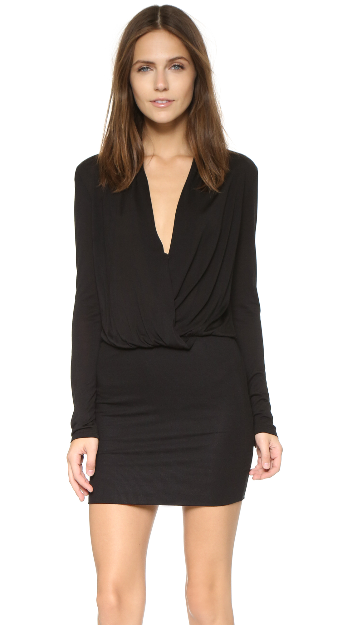 Lanston Surplice Long Sleeve Dress - Black at Shopbop
