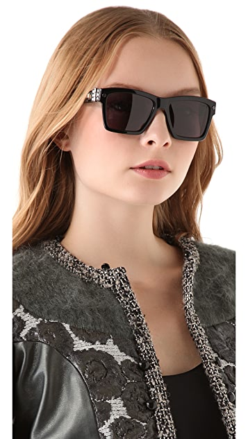 Lanvin Square Sunglasses with Swarovski Crystals