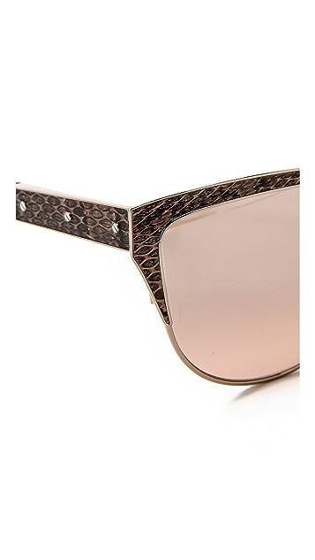 Lanvin Cat Eye Leather Detail Sunglasses