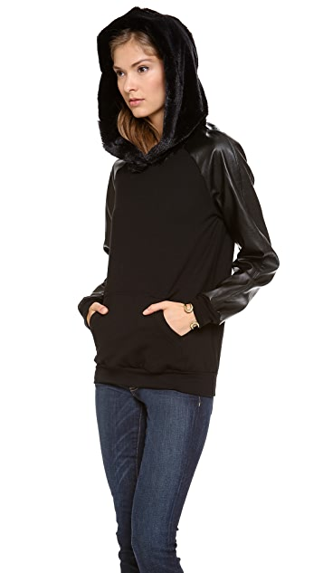 LA't by L'AGENCE Hoodie with Faux Fur Lining