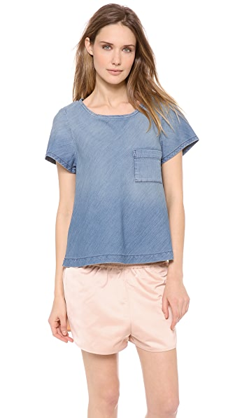 LA't by L'AGENCE Bias Cut Denim Top