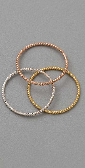 Laura Lee Set of 3 Fine Twisted Rings