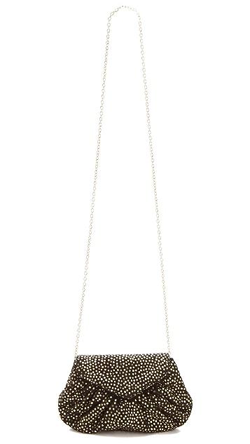 Lauren Merkin Handbags Diana Suede Clutch with Metallic Polka Dots