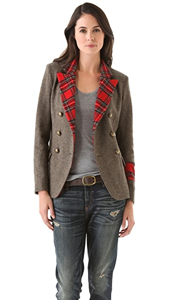 LAVEER Kadette Blazer with Plaid Trim