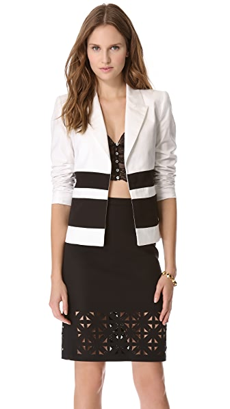 LAVEER Striped Montage Blazer