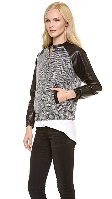 LAVEER Leather Sleeve Bomber
