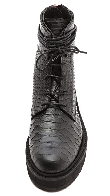 LD Tuttle The Drifter Python Flat Combat Booties