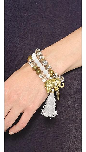 Lead Beaded Elephant Bracelet Set