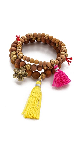 Lead Wood Beaded Bracelet Set