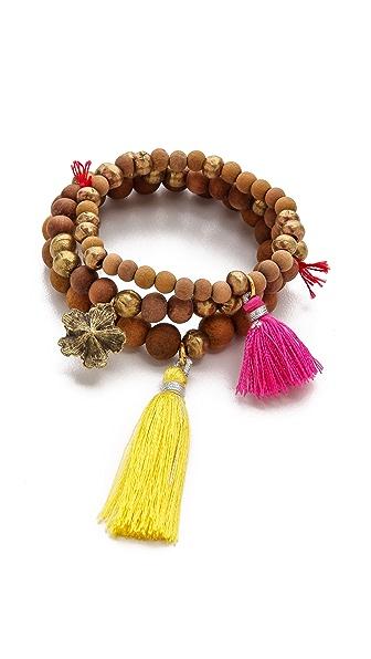 Lead Wood Beaded Bracelet Set