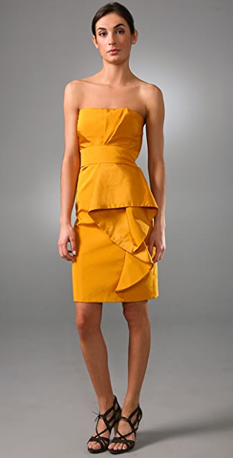 Lela Rose Strapless Dress with Wave Front Detail