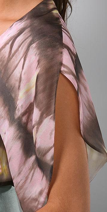 Lela Rose Flutter Sleeve Blouse