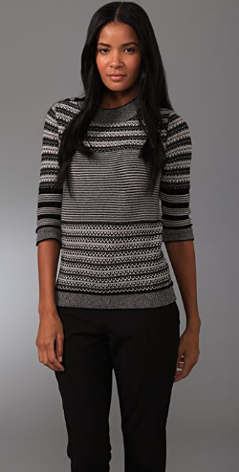 Lela Rose 3/4 Sleeve Crew Neck Sweater