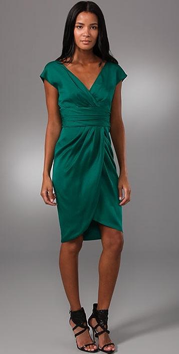 Lela Rose V Neck Dress with Tulip Skirt