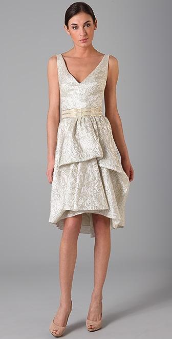 Lela Rose Brocade V Neck Dress with Belt