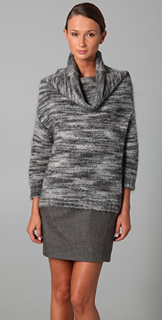 Lela Rose Ombre Stripe Cowl Neck Sweater