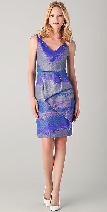 Lela Rose V Neck Dress with Cascade Skirt