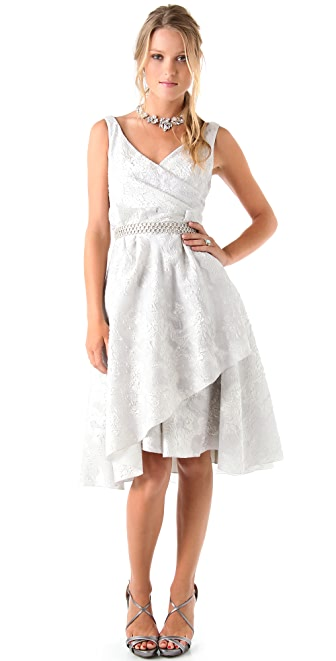 Lela Rose Jacquard Dress with Beaded Belt