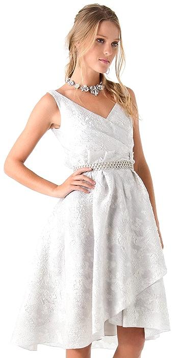 Lela Rose Jacquard Dress with Beaded Belt