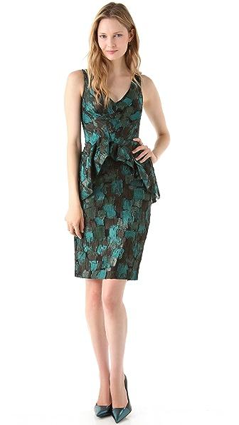 Lela Rose Printed Peplum Dress