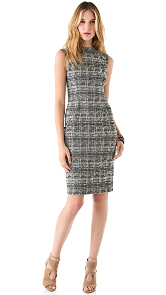 Lela Rose Contrast Zipper Sheath Dress