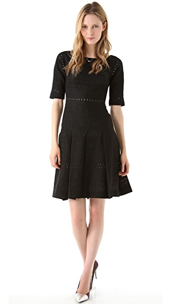 Lela Rose Wool Pleated Dress