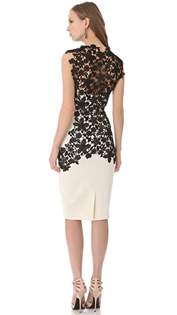 Lela Rose Lace Applique Bustier Dress