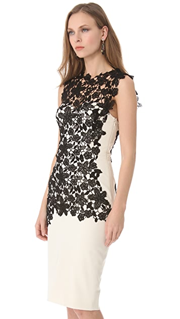 Lela Rose Lace Applique Bustier Dress